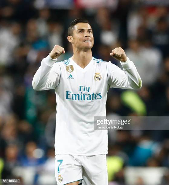 Cristiano Ronaldo of Real Madrid celebrates after scoring during the UEFA Champions League group H match between Real Madrid CF and Tottenham Hotspur...