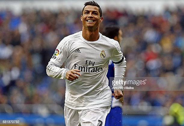 Cristiano Ronaldo of Real Madrid celebrates after scoring goal during the La Liga match between RC Deportivo La Coruna and Real Madrid CF at Riazor...