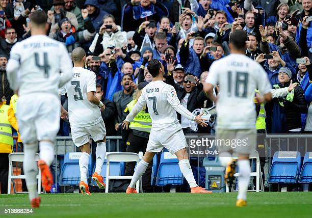 Cristiano Ronaldo of Real Madrid celebrates after scoring his 2nd goal during the La Liga match between Real Madrid CF and Celta Vigo at Estadio...