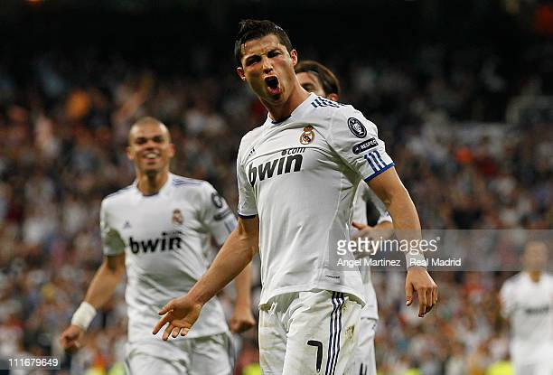 Cristiano Ronaldo of Real Madrid celebrates after scoring his sides fourth goal during the UEFA Champions League quarter final first leg match...