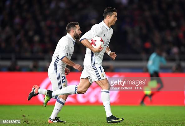 Cristiano Ronaldo of Real Madrid celebrates after scoring his sides second goal during the FIFA Club World Cup Final match between Real Madrid and...