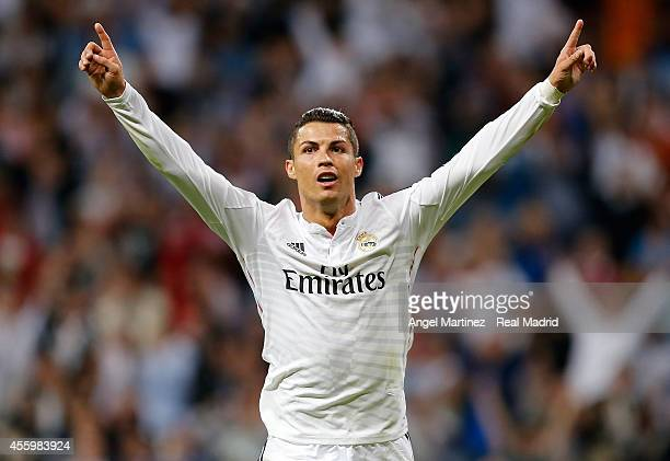 Cristiano Ronaldo of Real Madrid celebrates after scoring his team's fifth goal during the La Liga match between Real Madrid CF and Elche FC at...