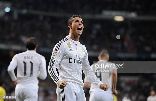 Cristiano Ronaldo of Real Madrid celebrates after scoring his team's opening goal during the La Liga match between Real Madrid and Villarreal at...