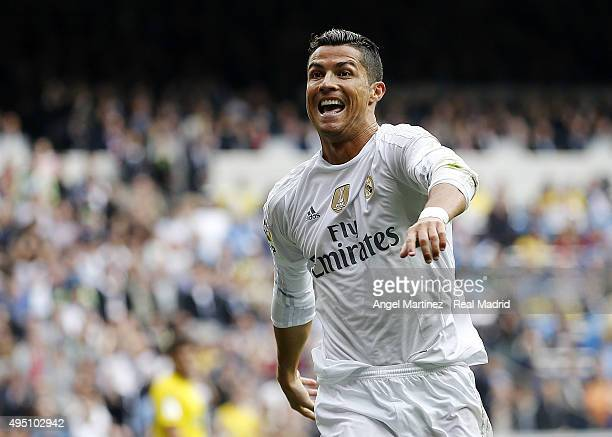 Cristiano Ronaldo of Real Madrid celebrates after scoring his team's second goal during the La Liga match between Real Madrid CF and UD Las Palmas at...