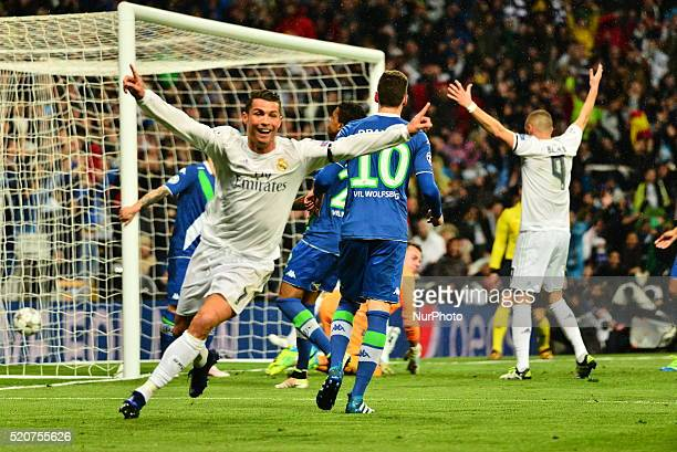 Cristiano Ronaldo of Real Madrid celebrates after scoring his team's first goal during the UEFA Champions League quarter final second leg match...