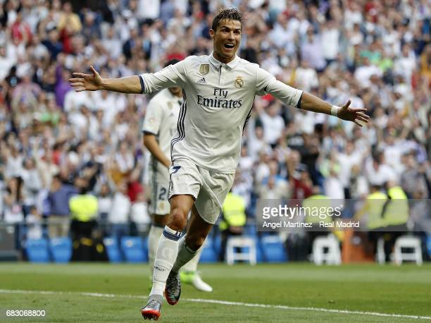 Cristiano Ronaldo of Real Madrid celebrates after scoring his team's second goal during the La Liga match between Real Madrid and Sevilla FC at...