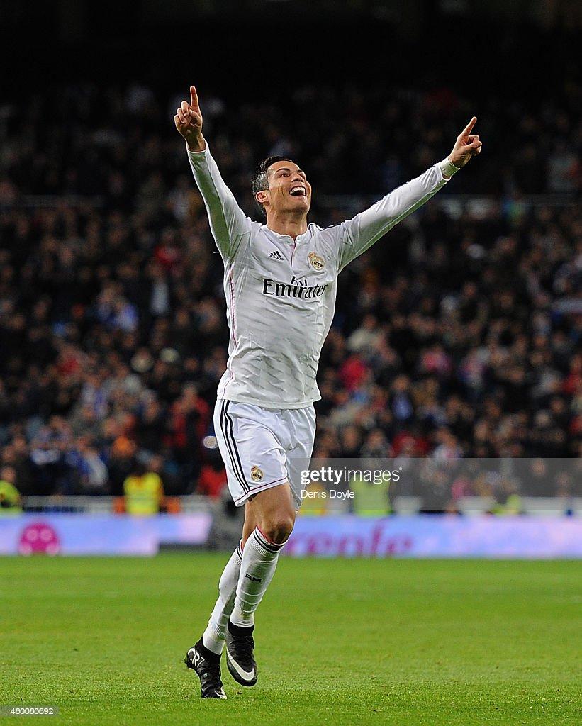 Cristiano Ronaldo of Real Madrid celebrates after scoring Real's 2nd goal during the La Liga match between Real Madrid CF and Celta Vigo at Estadio...