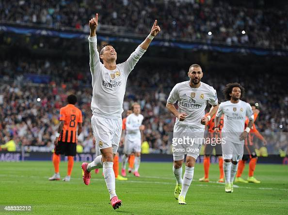 Cristiano Ronaldo of Real Madrid celebrates after scoring Real's 2nd goal from the penalty spot during the UEFA Champions League Group A match...