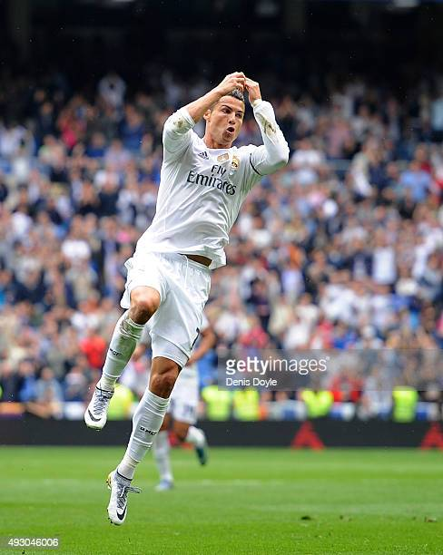 Cristiano Ronaldo of Real Madrid celebrates after scoring Real's 2nd goal during the La Liga match between Real Madrid CF and Levante UD at estadio...