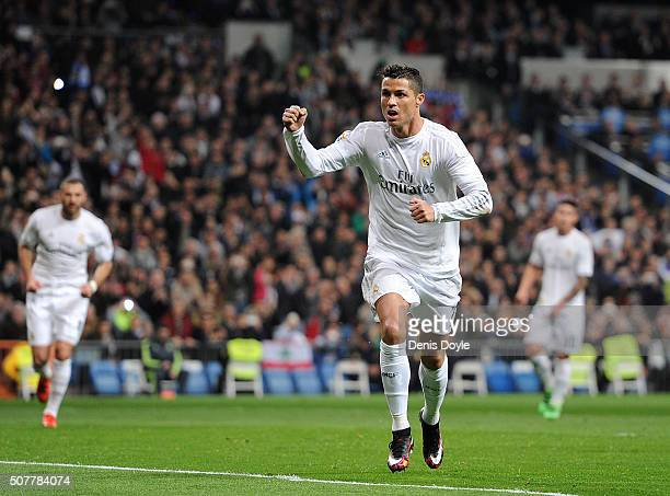 Cristiano Ronaldo of Real Madrid celebrates after scoring Real's 2nd goal during the La Liga match between Real Madrid CF and Real CD Espanyol at...