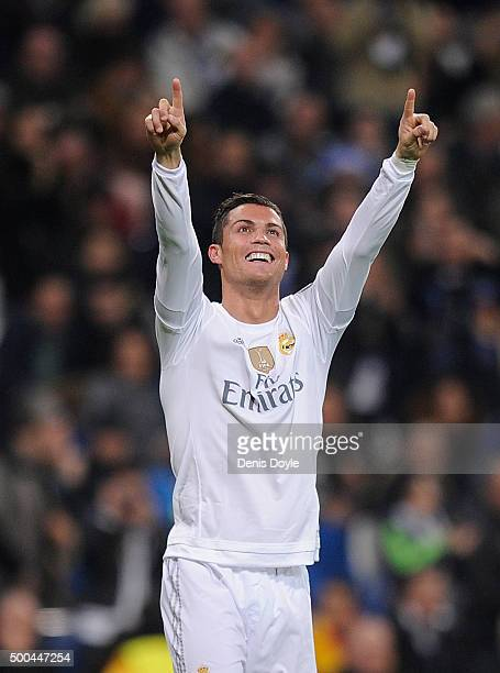 Cristiano Ronaldo of Real Madrid celebrates after scoring Real's 5th goal during the UEFA Champions League Group A match between Real Madrid CF and...