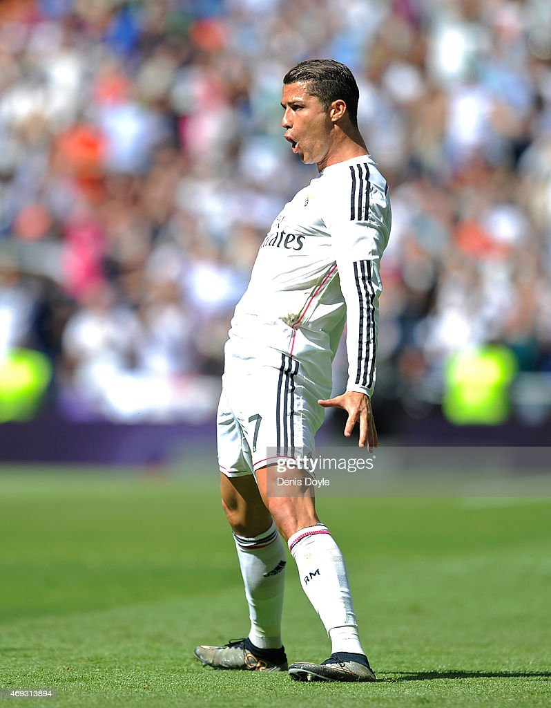 Cristiano Ronaldo of Real Madrid celebrates after scoring Real's opening goal from a free kick during the La Liga match between Real Madrid and Eibar...