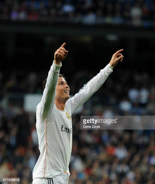Cristiano Ronaldo of Real Madrid celebrates after scoring Real's opening goal during the La Liga match between Real Madrid CF and Levante UD at...