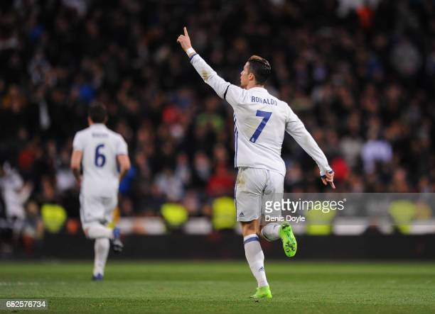 Cristiano Ronaldo of Real Madrid celebrates after scoring Real's opening goal during the La Liga match between Real Madrid CF and Real Betis Balompie...