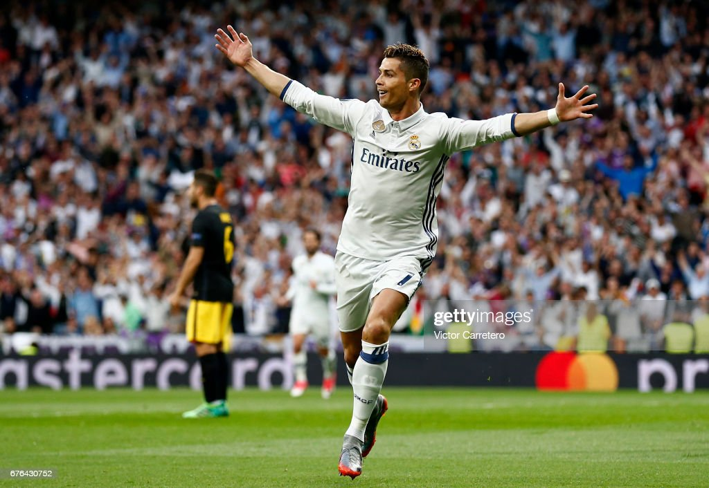 Cristiano Ronaldo of Real Madrid celebrates after scoring the opening goal during the UEFA Champions League Semi Final first leg match between Real Madrid CF and Club Atletico de Madrid at Estadio Santiago Bernabeu on May 2, 2017 in Madrid, Spain.