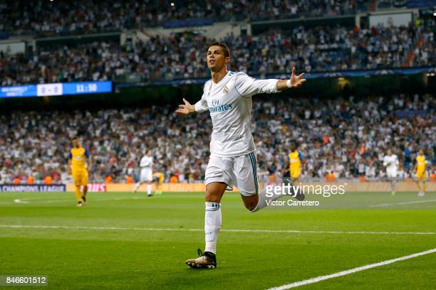 Cristiano Ronaldo of Real Madrid celebrates after scoring the opening goal during the UEFA Champions League group H match between Real Madrid CF and...