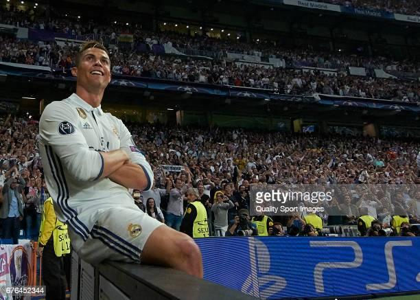 Cristiano Ronaldo of Real Madrid celebrates after scoring the second goal during the UEFA Champions League Semi Final first leg match between Real...
