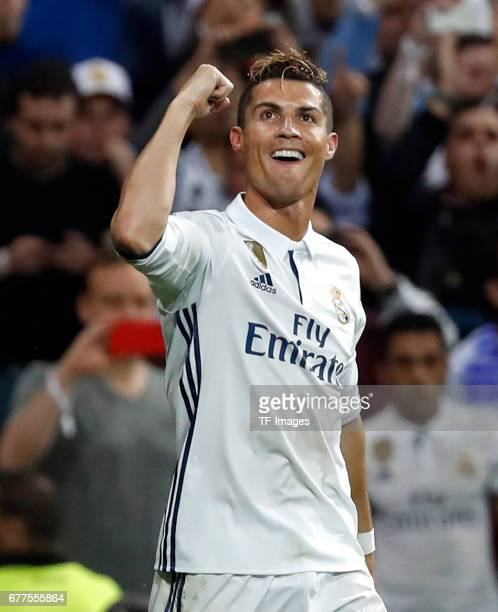 Cristiano Ronaldo of Real Madrid celebrates after scoring the third goal during the UEFA Champions League semifinal first leg match between Real...