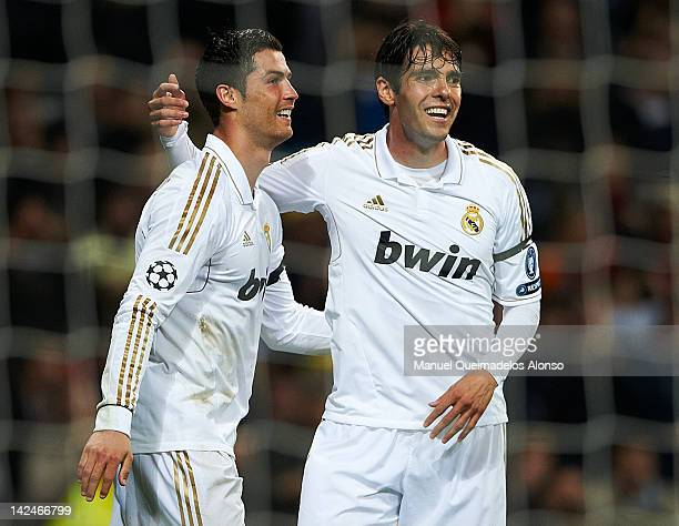 Cristiano Ronaldo of Real Madrid celebrates after scoring with his teammate Kaka during the UEFA Champions League quarterfinal second leg match...