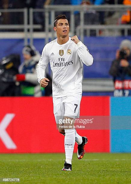 L'VIV UKRAINE NOVEMBER 25 Cristiano Ronaldo of Real Madrid celebrates after scorinig during the UEFA Champions League Group A match between FC...