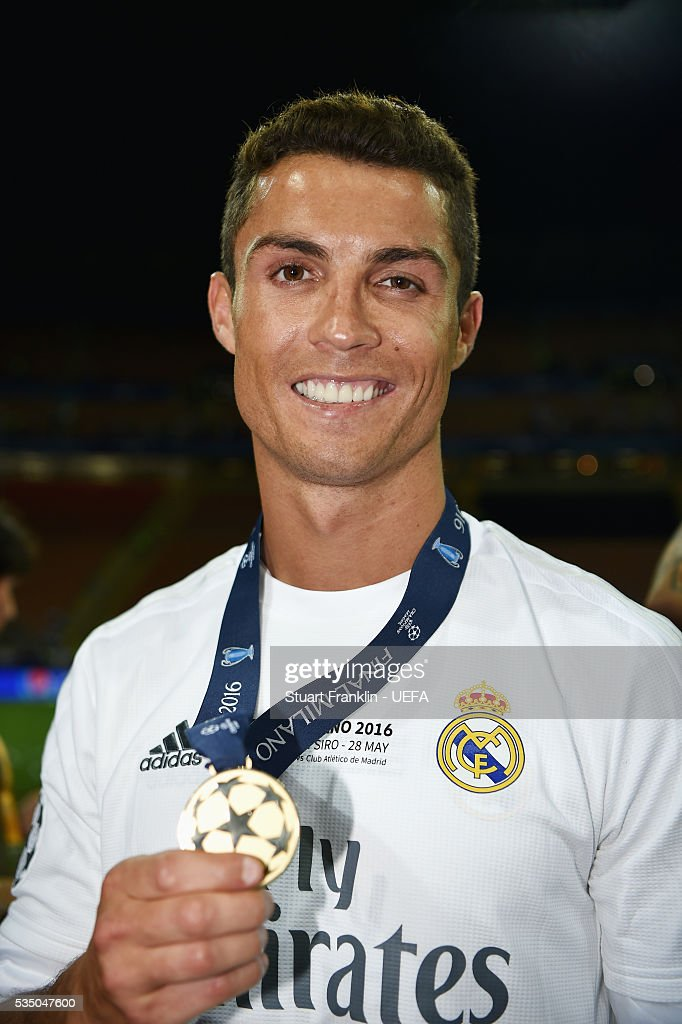Cristiano Ronaldo of Real Madrid celebrates after the UEFA Champions League Final between Real Madrid and Club Atletico de Madrid at Stadio Giuseppe Meazza on May 28, 2016 in Milan, Italy.