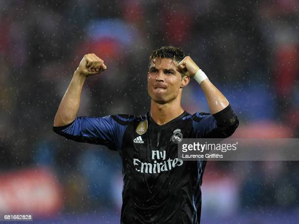 Cristiano Ronaldo of Real Madrid celebrates after the UEFA Champions League Semi Final second leg match between Club Atletico de Madrid and Real...