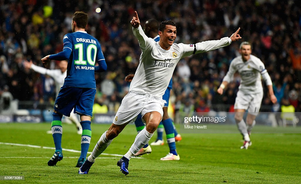 Cristiano Ronaldo of Real Madrid celebrates as he scores their second goal during the UEFA Champions League quarter final second leg match between...