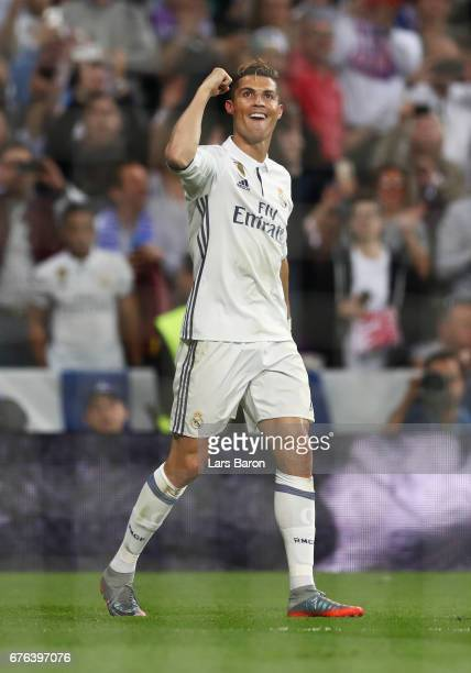 Cristiano Ronaldo of Real Madrid celebrates as he scores their third goal and completes his hat trick during the UEFA Champions League semi final...