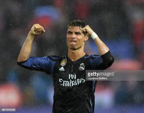 Cristiano Ronaldo of Real Madrid celebrates at the end of the UEFA Champions League Semi Final second leg match between Club Atletico de Madrid and...