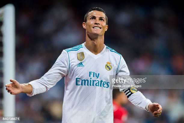 Cristiano Ronaldo of Real Madrid celebrates during the Santiago Bernabeu Trophy 2017 match between Real Madrid and ACF Fiorentina at the Santiago...