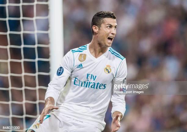 Cristiano Ronaldo of Real Madrid celebrates during the UEFA Champions League 201718 match between Real Madrid and APOEL FC at Estadio Santiago...