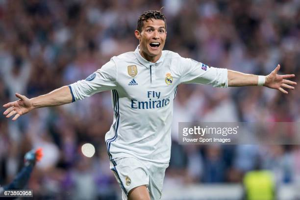 Cristiano Ronaldo of Real Madrid celebrates during their 201617 UEFA Champions League Quarterfinals second leg match between Real Madrid and FC...