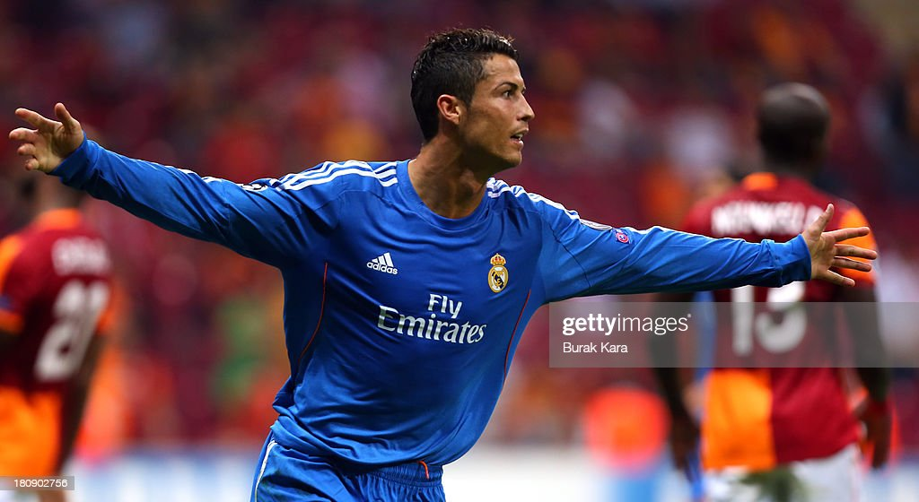 <a gi-track='captionPersonalityLinkClicked' href=/galleries/search?phrase=Cristiano+Ronaldo+-+Soccer+Player&family=editorial&specificpeople=162689 ng-click='$event.stopPropagation()'>Cristiano Ronaldo</a> of Real Madrid celebrates his goal against Galatasaray during UEFA Champions League Group B match at the Ali Sami Yen Area on September 17, 2013 in Istanbul, Turkey.