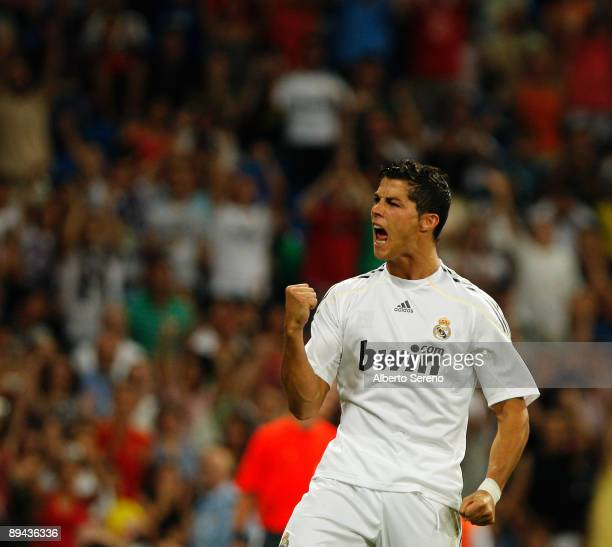 Cristiano Ronaldo of Real Madrid celebrates his goal during the Peace Cup match between Real Madrid and Liga Deportiva Universitaria de Quito at...