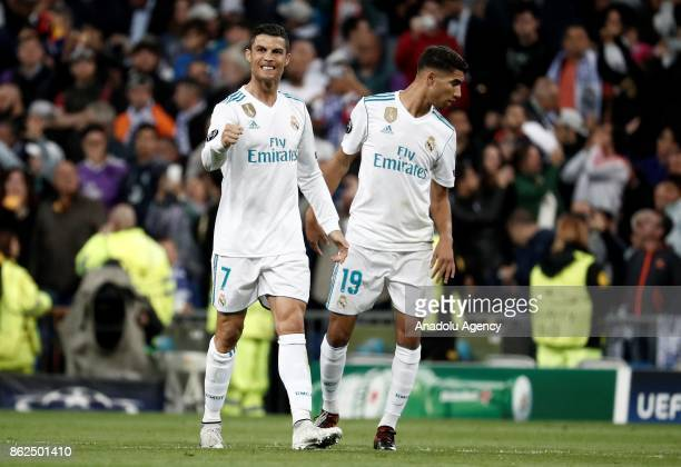 Cristiano Ronaldo of Real Madrid celebrates his goal with Achraf Hakimi during UEFA Champions League Group H match between Real Madrid and Tottenham...