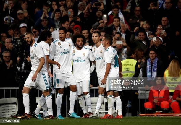 Cristiano Ronaldo of Real Madrid celebrates his goal with teammates Raphael Varane Karim Benzema Marcelo Vieira Lucas Vazquez and Jesus Vallejo...