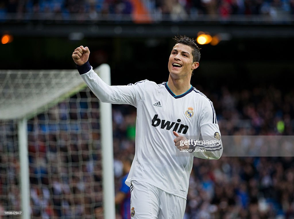 Cristiano Ronaldo of Real Madrid celebrates his sides fourth goal during the la Liga match between Real Madrid CF and Levante UD at Estadio Santiago Bernabeu on April 6, 2013 in Madrid, Spain.