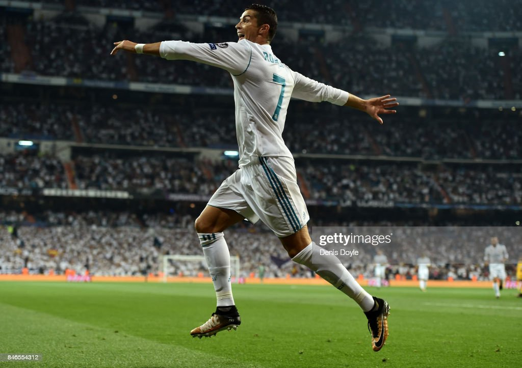 Cristiano Ronaldo of Real Madrid celebrates scoring his sides first goal during the UEFA Champions League group H match between Real Madrid and APOEL Nikosia at Estadio Santiago Bernabeu on September 13, 2017 in Madrid, Spain.