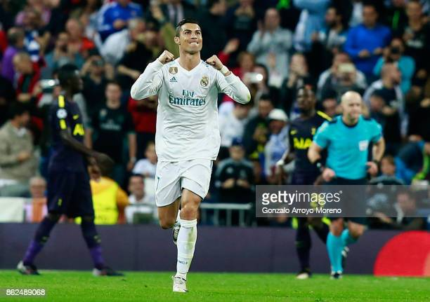 Cristiano Ronaldo of Real Madrid celebrates scoring his sides first goal during the UEFA Champions League group H match between Real Madrid and...