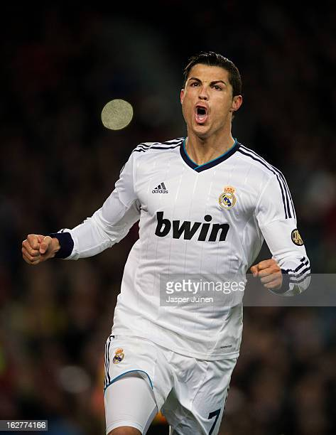 Cristiano Ronaldo of Real Madrid celebrates scoring his sides opening goal during the Copa del Rey semi final second leg match between FC Barcelona...