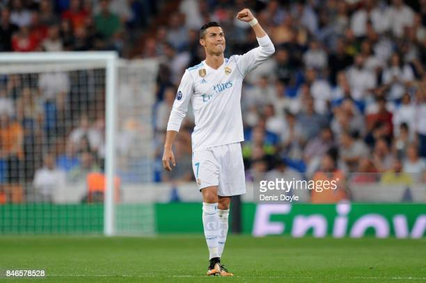 Cristiano Ronaldo of Real Madrid celebrates scoring his sides second goal during the UEFA Champions League group H match between Real Madrid and...