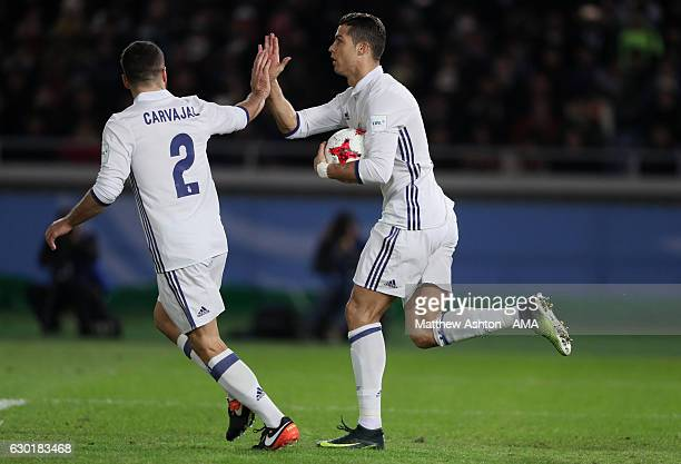 Cristiano Ronaldo of Real Madrid celebrates scoring his team's second goal to make the score 22 with Daniel Carvajal during the FIFA Club World Cup...