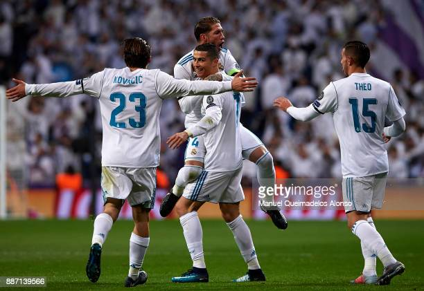 Cristiano Ronaldo of Real Madrid celebrates scoring his team's second goal with his teammates Mateo Kovacic Theo Hernandez and Sergio Ramos during...