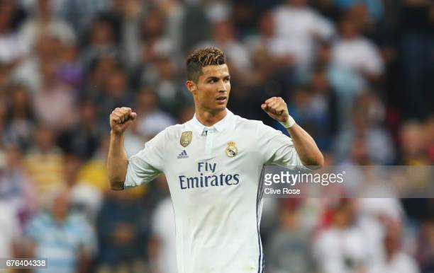 Cristiano Ronaldo of Real Madrid celebrates victory after the UEFA Champions League semi final first leg match between Real Madrid CF and Club...