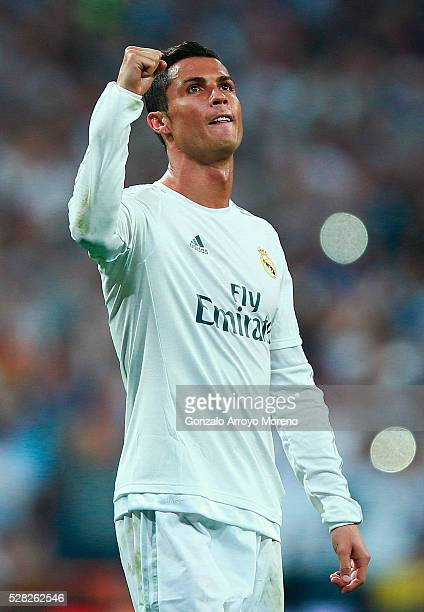 Cristiano Ronaldo of Real Madrid celebrates victory during the UEFA Champions League semi final second leg match between Real Madrid and Manchester...