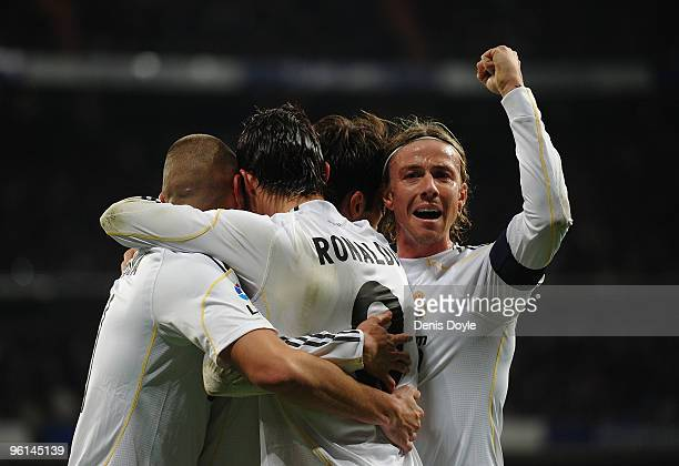 Cristiano Ronaldo of Real Madrid celebrates with Guti after scoring his first goal for Real during the La Liga match between Real Madrid and Malaga...