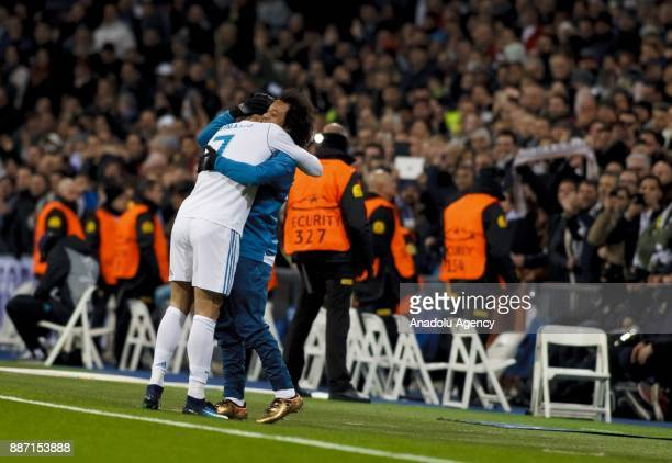 Cristiano Ronaldo of Real Madrid celebrates with his teammate Marcelo after scoring a goal during the UEFA Champions League group H match between...