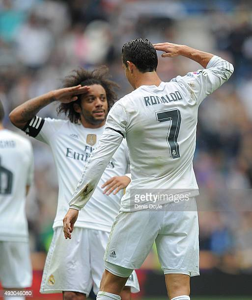 Cristiano Ronaldo of Real Madrid celebrates with Marcelo after scoring Real's 2nd goal during the La Liga match between Real Madrid CF and Levante UD...