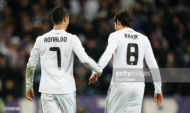 Cristiano Ronaldo of Real Madrid celebrates with Ricardo Kaka during the La Liga match between Real Madrid and Villarreal at Estadio Santiago...