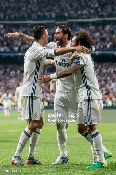 Cristiano Ronaldo of Real Madrid celebrates with teammates Sergio Ramos and Marcelo Vieira Da Silva during their 201617 UEFA Champions League...